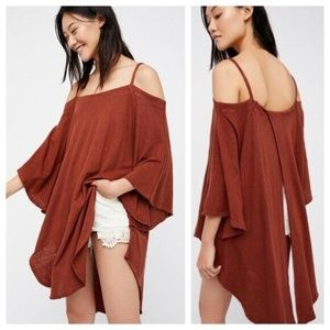 Free People Cold Shoulder Paradise Tunic Orange